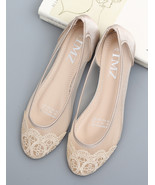 flat cream wedding shoes,lace ballet flats,champagne lace wedding shoes - £30.95 GBP