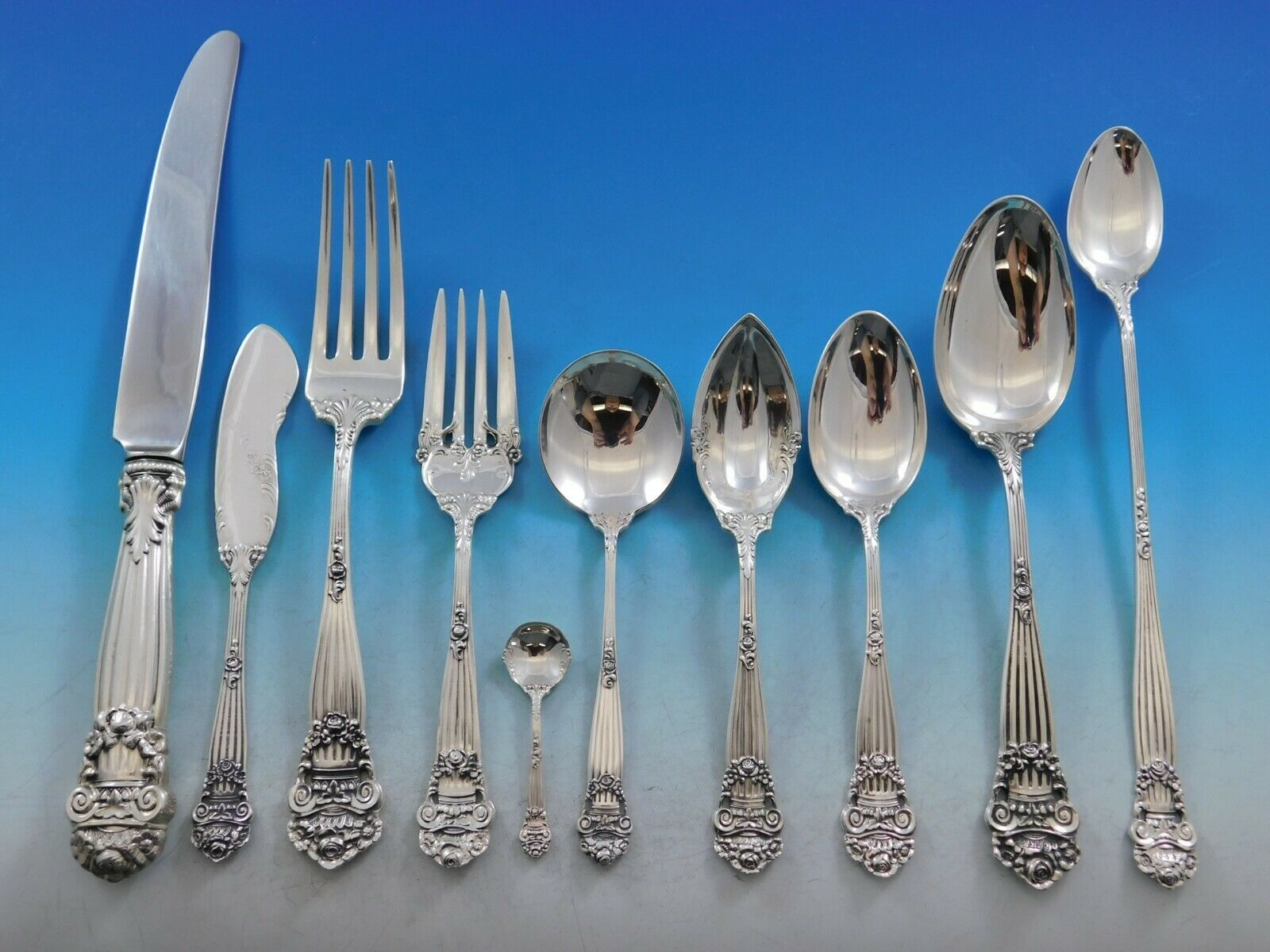 Primary image for Georgian by Towle Sterling Silver Flatware Set for 12 Service 140 pcs Dinner