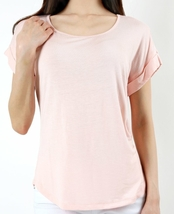 Soft Coral Blouse with Folded Sleeves, Short Sleeve, Womens, Scoop Neck Top