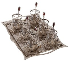 Turkish Tea Set for 6 - Glasses with Brass Holders Lids Saucers Tray & G... - $70.04