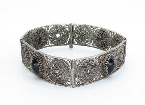 925 Sterling Silver - Vintage Black Onyx Filigree Detail Chain Bracelet - B5821
