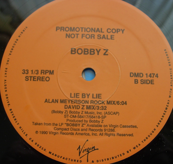 Bobby Z - Lie By Lie - Virgin Records DMD 1474 - PROMO