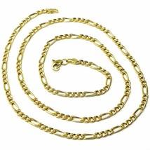 9K GOLD CHAIN FIGARO GOURMETTE ALTERNATE 3+1 FLAT LINKS 3mm, 60cm, 24 IN... - $353.08