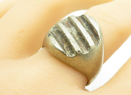 MEXICO 925 Silver - Vintage Large Striped Design Oval Band Ring Sz 11 - ... - $51.52
