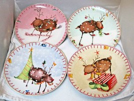 Oneida Reindeer Holiday Lot of 4 Plates 8 1/4 inches  Salad Dessert 4 Patterns!  - $54.45