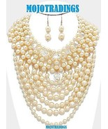 Chunky Crystal Cream Multi-Pearl Strand Draped Necklace Statement Jewelry Set - $31.99