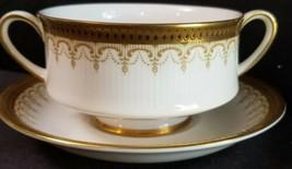 (8) Paragon Athena Gold Border Black Dots Cream Soups And Underplates - $303.88
