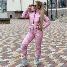 European Women's OnePiece Pink Duck Down Fur Lined Hooded Pink Ski Suit Snowsuit image 1