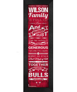 """Personalized Chicago Bulls """"Family Cheer"""" 24 x 8 Framed Print - $39.95"""