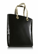 New Estee Lauder Chic High-Shine Black Patent Tote Bag with Python Print... - $9.89