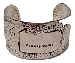 USA State Antiqued Silver Hammered cuff bracelet (Pennsylvania)