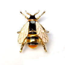 Brooch Bee Beetle Wasp Hornet Insect Yellow Gold Black Cool Unisex Men Suit Pin - $7.99