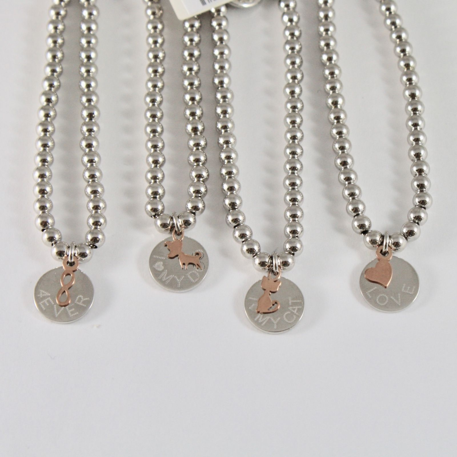 SILVER 925 BRACELET JACK&CO WITH BEADS SHINY AND PENDANT GOLD PINK 9 CARATS