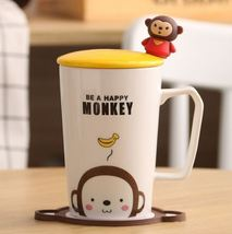 Be a Happy Monkey White Mugs Milk Tea Cup Drinkware + Cover Lid + Spoon ... - $34.95