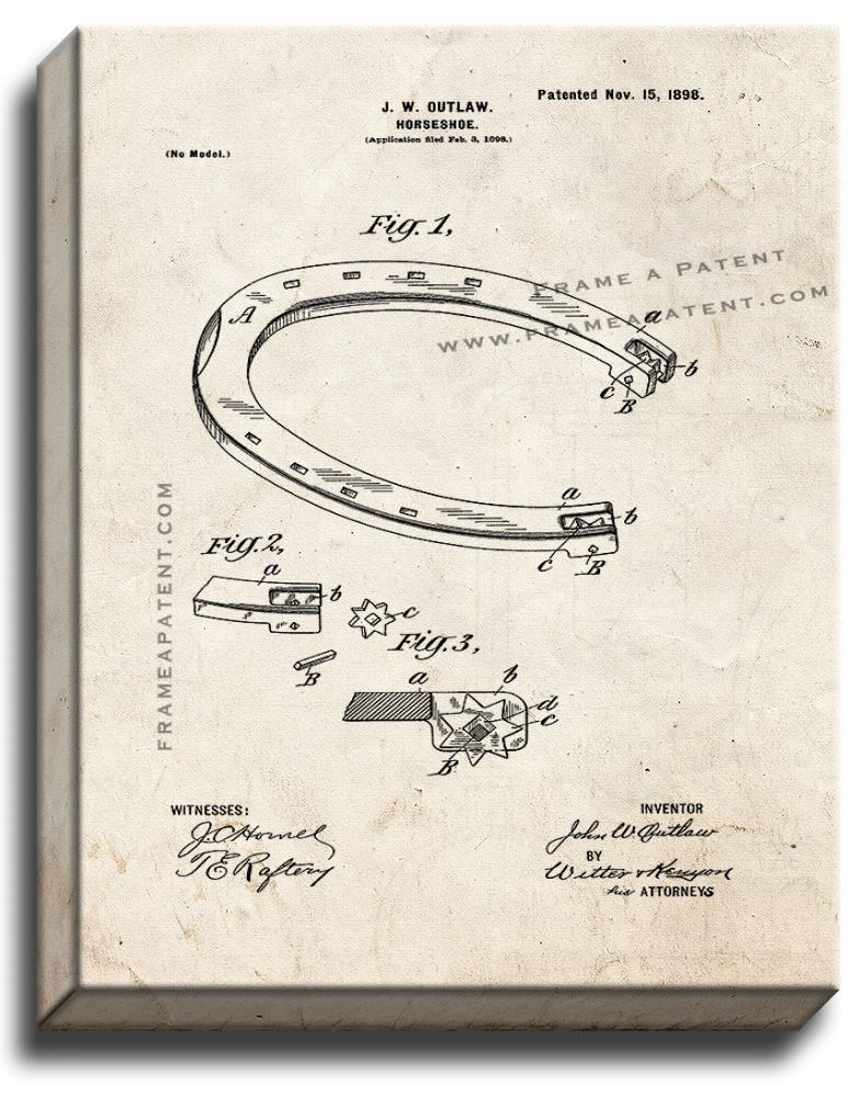 Primary image for Horseshoe Patent Print Old Look on Canvas