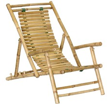 Bamboo Tiki Adjustable Recliner Folding Patio Deck Lounge Chair Set of 2 - $171.45