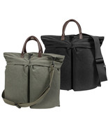 Military Flyers Helmet Bag with Leather Handles & Vintage Canvas - $36.99