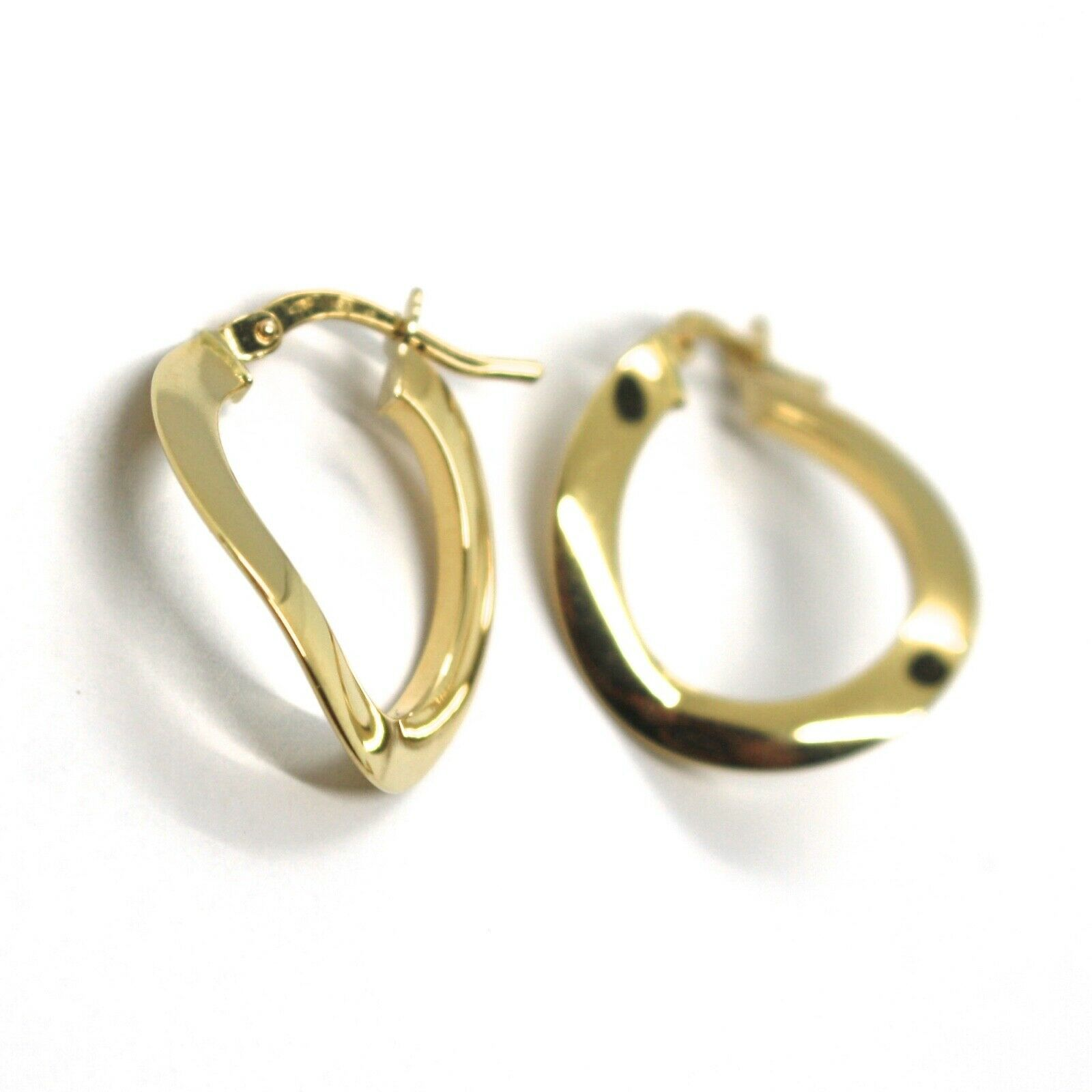 18K YELLOW GOLD CIRCLE HOOPS ONDULATE EARRINGS 20 MM, THIN SECTION 1 MM, ITALY