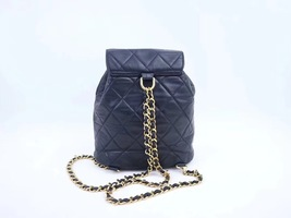 100% AUTHENTIC CHANEL VINTAGE  BLACK QUILTED LAMBSKIN BACKPACK GHW image 4