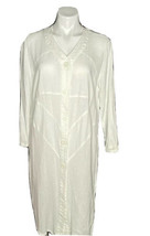 MZM Sport Long White Sweater Buttons Up Front Lightweight V Neck Size Large - $45.54