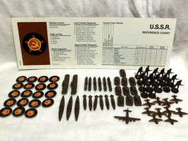 Game Parts Pieces Axis & Allies 1986 Ussr Brown Reference Markers Ships Planes - $12.77