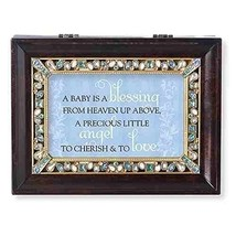 Roman Baby is a Blessing Brown Large Jeweled Music Box - $42.94