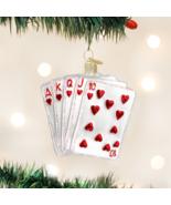 OLD WORLD CHRISTMAS ROYAL FLUSH CASINO GAME CARDS GLASS CHRISTMAS ORNAME... - $15.88