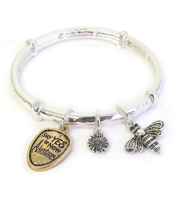 Primary image for Bumble Bee Charm Inspirational Bangle Bracelet Silver NEW