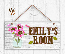 Pink Flowers & Mason Jar Sign, Personalized Kids Door Sign, Kids Name, 5... - $16.29