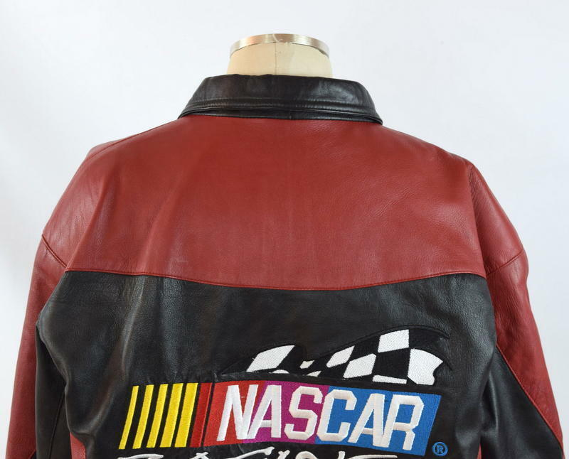Vtg 90s Nascar Racing Soft Black & Red Luxe Leather Retro Bomber Jacket Mens S image 6