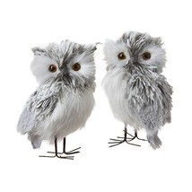Kurt Adler 5-Inch Furry Gray Owl Set of 2 - $28.70