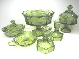VTG Fostoria Green Liberty Coin Glass 8 PC Pedestal Bowl Candy Dish Cand... - $68.28