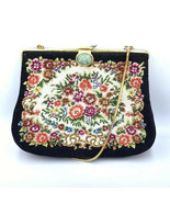 Antique Handbag Beautiful Tapestry Black Floral In Mint Conditon! Vintage - $268.81