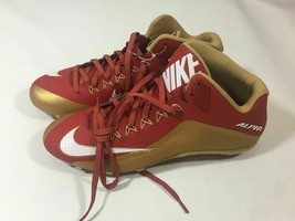 Nike Alpha Pro II 3/4 Mid TD Football Cleats Red/Gold/White 729444-628 S... - $38.00
