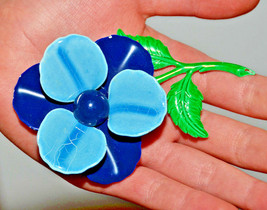 vintage 3d dark and light blue enamel flower brooch pin floral - $12.86