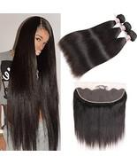 Pizazz Hair Brazilian Straight Hair 3 Bundles With Frontal Closure 13x4 ... - $106.72
