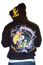 Dissizit Mens Black Damage 13 Vulture dropping Bombs Zip Up Hoodie Sweater Large