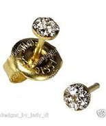 New Baby Short Post April Crystal 24 ct. Gold Plate Daisy Personal Pierc... - $8.99