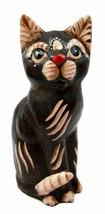 Balinese Wood Handicrafts Adorable Chocolate Feline Cat With Red Nose Fi... - $26.99