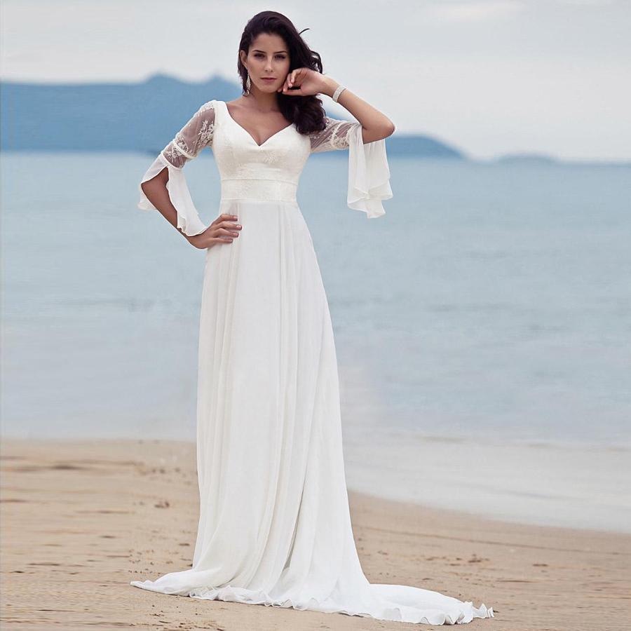Omen a line v neck summer lace beach wedding dress sexy vintage elegant long sleeves destination