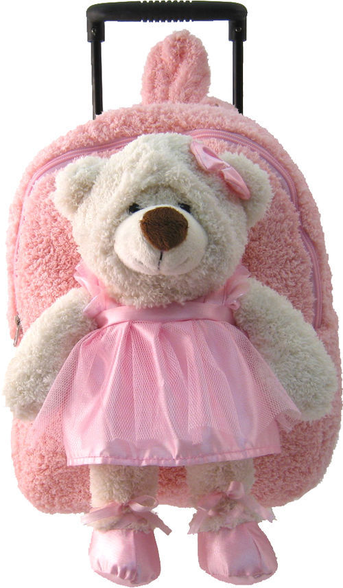 Kreative Kids Soft Plush Pre-School Roller Pink Backpack & Ballerina Bear