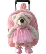 Kreative Kids Soft Plush Pre-School Roller Pink Backpack & Ballerina Bear - £31.51 GBP