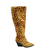 Dolce Vita Womans High Heel Knee High Boot Real Fur Leopard Print Sz 6 M... - $50.46