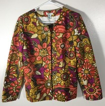 Women's Waist Length Jacket Top Size S Laura Ashley Red Yellow Purple Sm... - $23.75