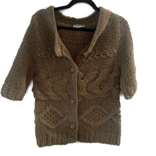 Primary image for Soft Surroundings Chunky Knit Cardigan Sweater ~ Medium Tan Taupe Wool Blend