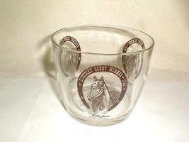 Vintage Kentucky Derby Winner Horses Glass ICE BUCKET Brown Graphics 194... - $30.00