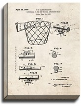 Basketball Net Patent Print Old Look on Canvas - $39.95+