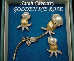 Sarah Coventry Brooch & Earrings GOLDEN ICE ROSE 1969 Ultra Fashion Collection  - $150.00