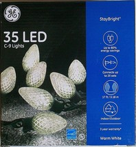 GE Stay Bright Warm White C9 LED 35 Etched Bulbs Green Wire 17 Feet New - $17.79