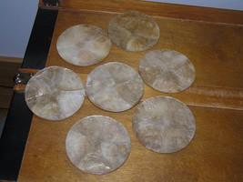 Estate Lot of 7 Thin Layer Seashell ? Round Cork Backed Coaster Set  -3 ... - $5.89